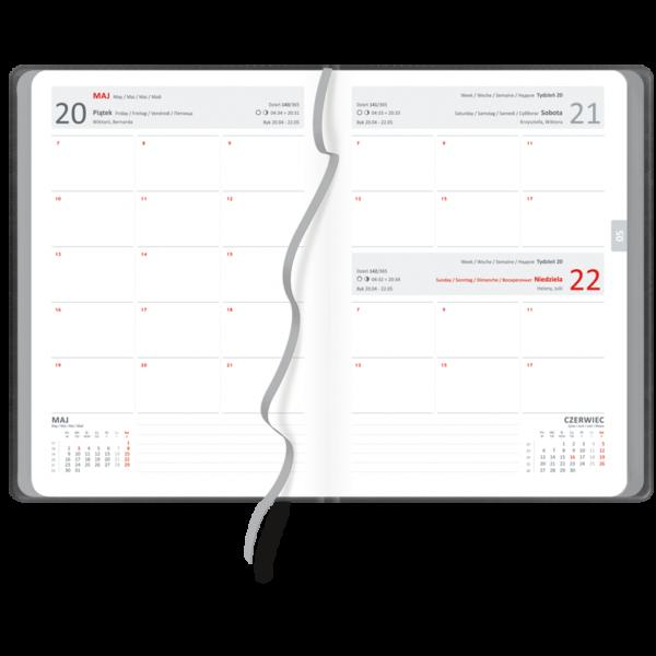 kalendarz książkowy A5 dzienny AKSAMITNA SZAROŚĆ | KK02