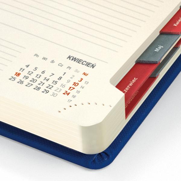 kalendarz książkowy A5 dzienny CZERWIEŃ   KK11