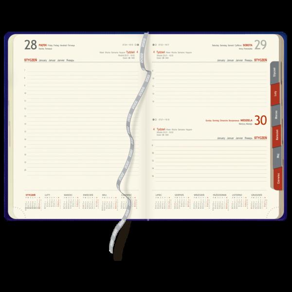 kalendarz książkowy A4 dzienny MATOWY GRANAT   KK47
