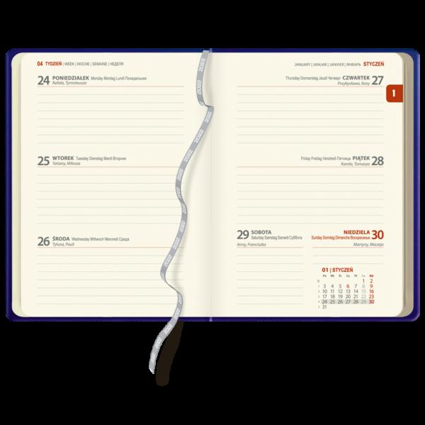kalendarz książkowy A6 tygodniowy CZERŃ I CZERWIEŃ | KK59