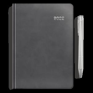 kalendarz książkowy A5 dzienny AKSAMITNA SZAROŚĆ + długopis | PREZENT02