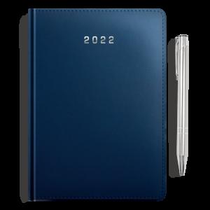 kalendarz książkowy A5 dzienny MATOWY GRANAT + długopis | PREZENT08