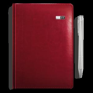 kalendarz książkowy A5 dzienny BURGUND + długopis | PREZENT12