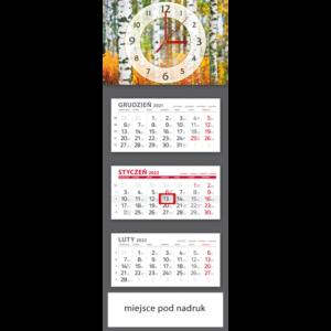 kalendarz trójdzielny klasyczny BRZOZY – ZEGAR | T107